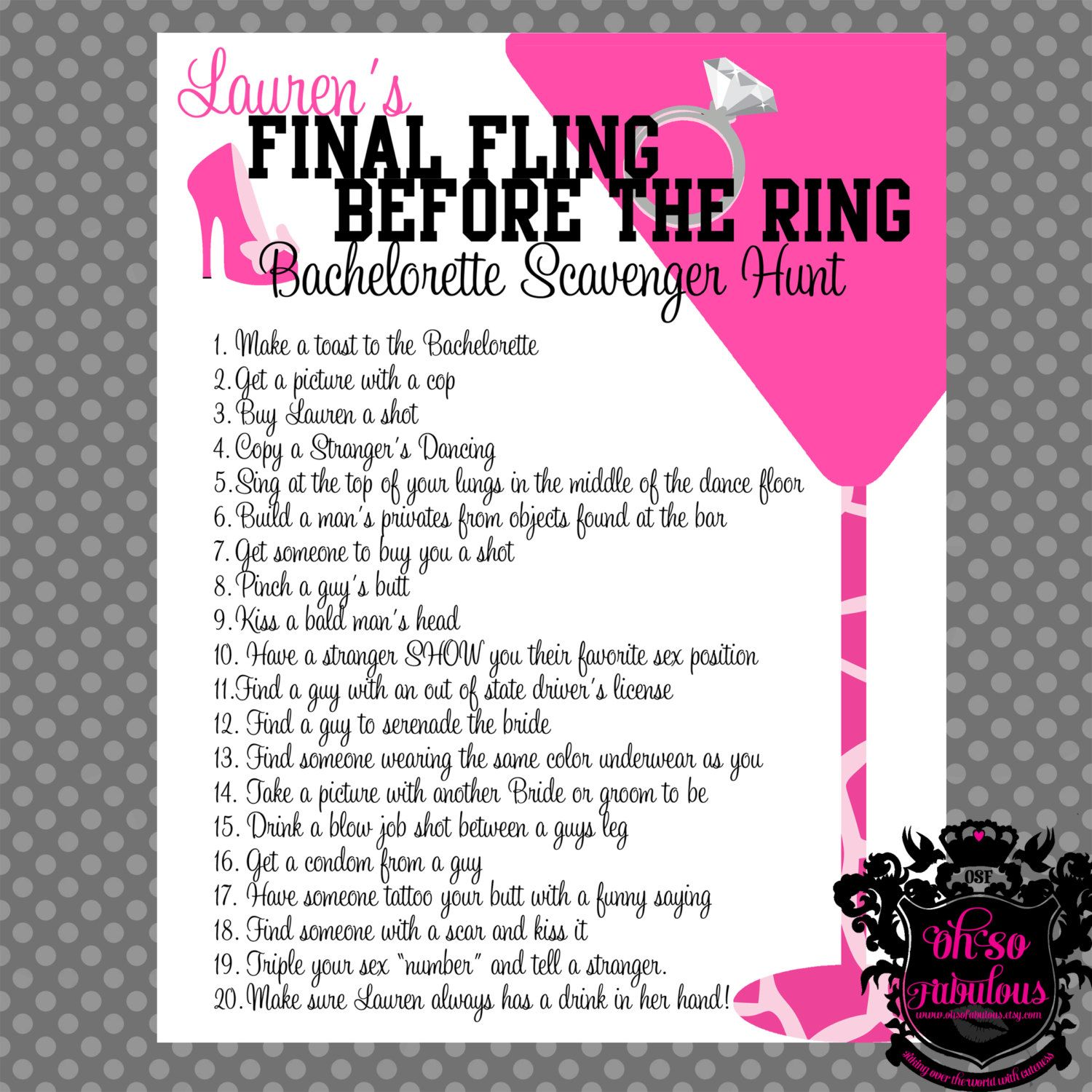 Wild and Crazy Bachelorette Party Scavenger Hunt by OhSoFabulous ...
