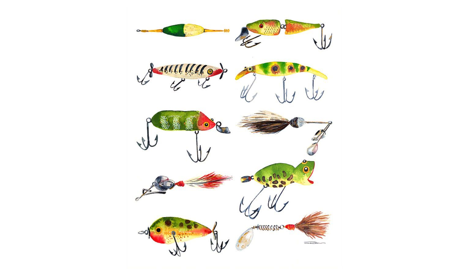 Fishing Lures Watercolor Print Artwork Art Print Home Decor Kids