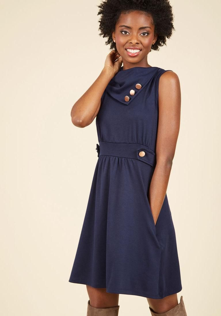 Adorewe modcloth modcloth coach tour aline dress in bleu adorewe