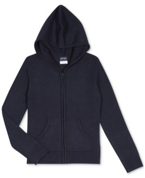 28a1b887ab Nautica Big Girls Plus-Size Zip-Front Hooded Sweater - Blue M (8 ...