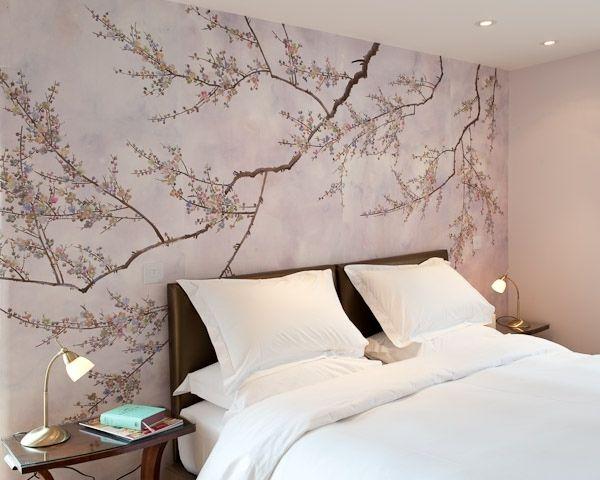 Schlafzimmer Tapeten Bett Kofpteil Kirschenblüten | Wandfarben ...