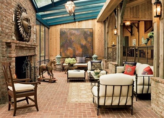 rustic living room tile floor designs | Living room with brick floor tile and rustic decoration ...
