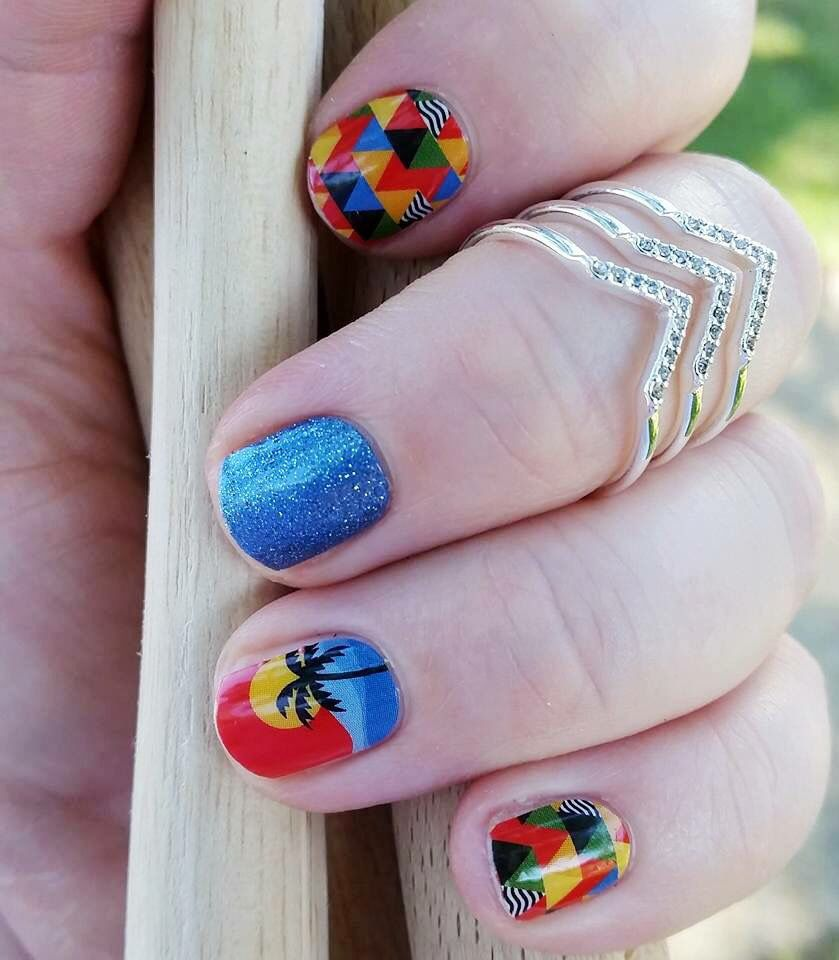 Are you getting ready for the Summer Games? Check out this beautiful manicure using Jmaberry nail wraps! Rio Sunset and Fountain of Yoith wraps pair wonderfully together for a bright jamicure. #RioSunsetJN #FountainOfYouthJN