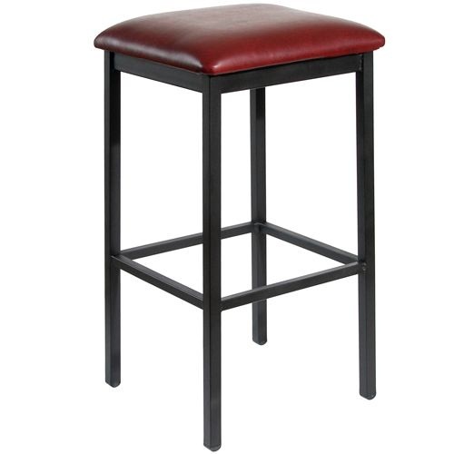 Bfm Seating Trent Clear Coat Metal Backless Bar Stool With Vinyl