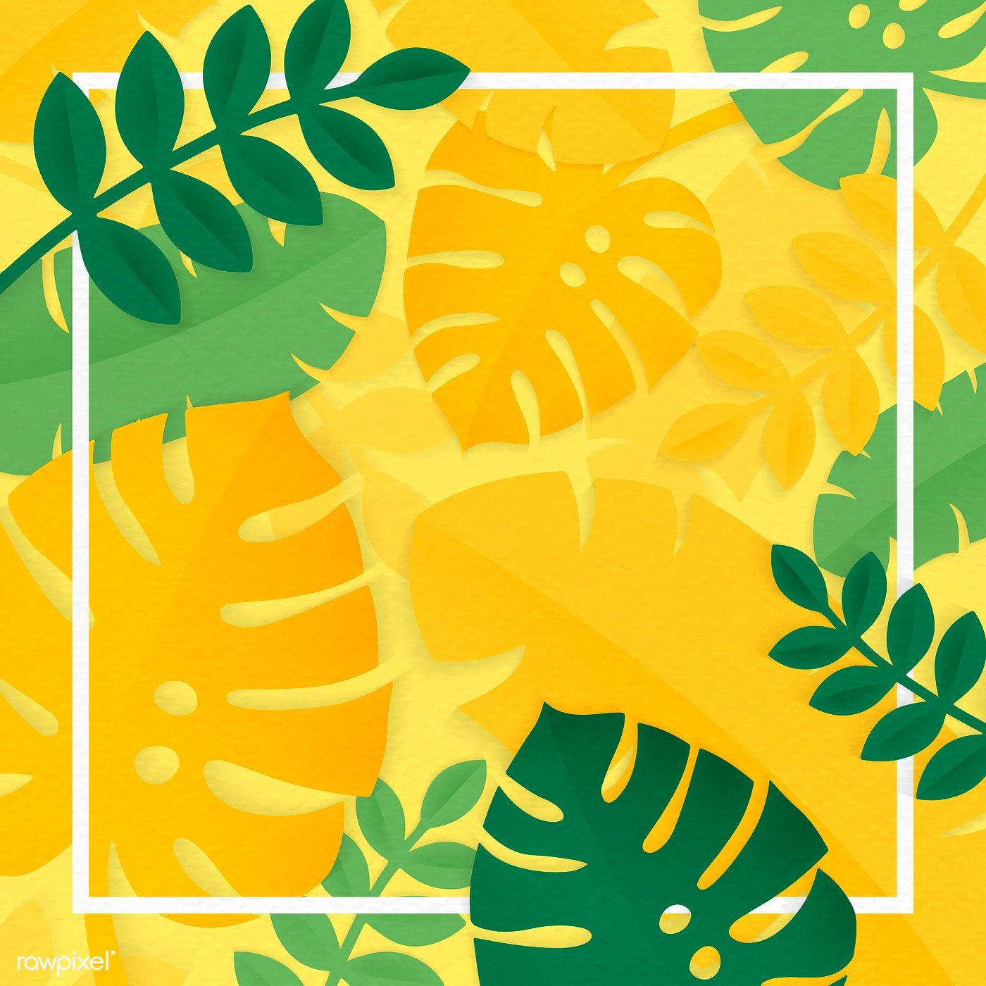 Download Premium Vector Of White Sqaure Frame On Yellow Tropical Leaves Vector Background Pattern Tropical Leaves Tropical Leaves Pattern Tropical palm tree leaves background. yellow tropical leaves