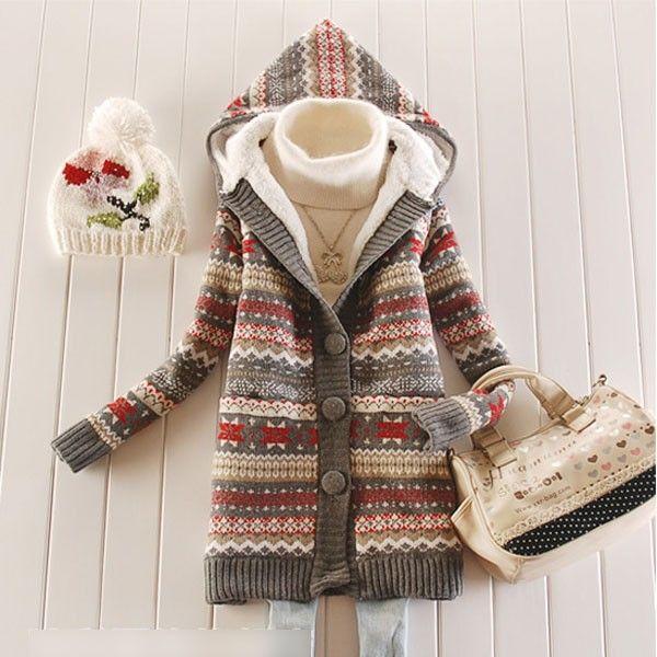Women Knitwear Thick Winter Hooded Cardigan Coat Loose Sweater Jacket Lined  Tops  6474bcf54