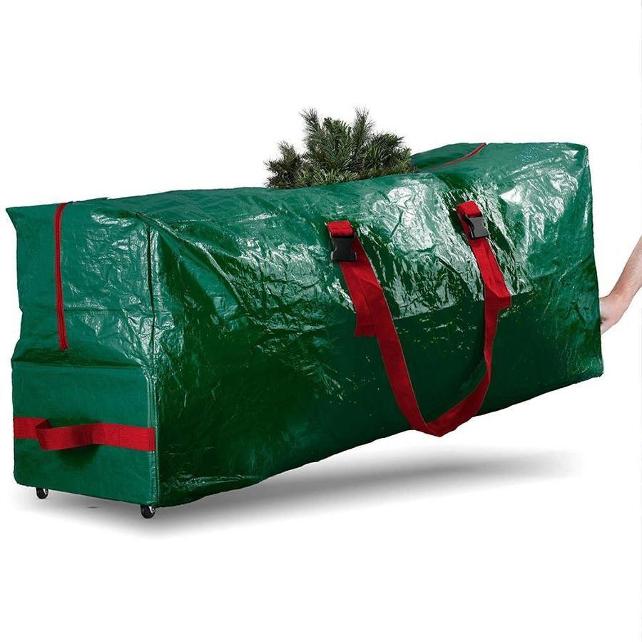 Osto Extra Large Tree Storage Bag With Wheels 55x17x30 Green Ocp