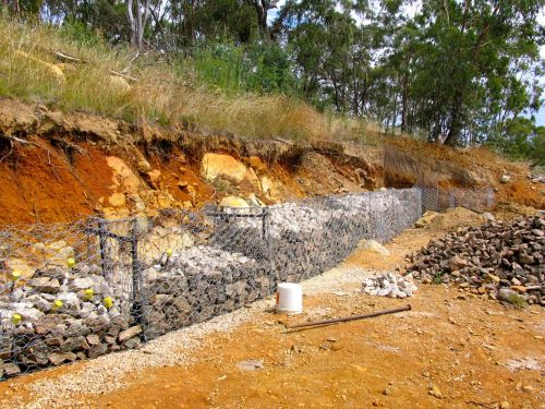 Diy Gabion Solution To Our Hillside For The Home Gabion Wall Gabion Fence Fence