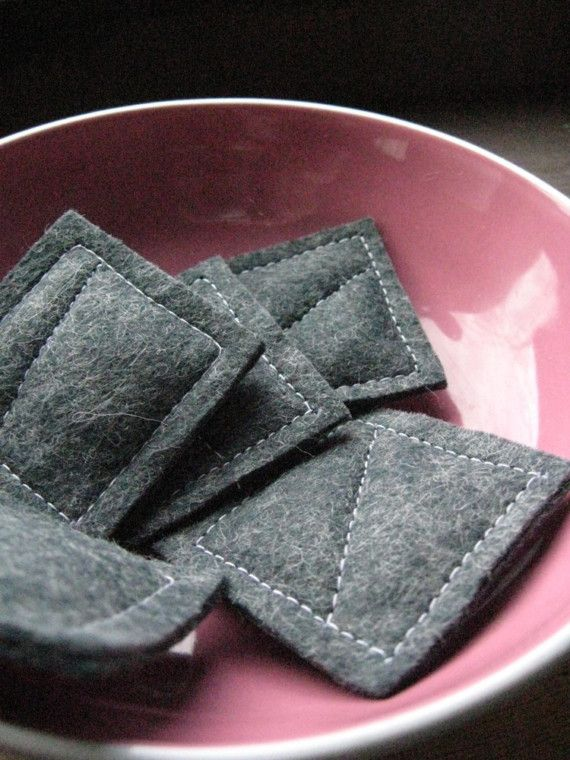 A little bit of lavender in felt squares. Place in your pocket, purse, or dish and the scent is lovely :)