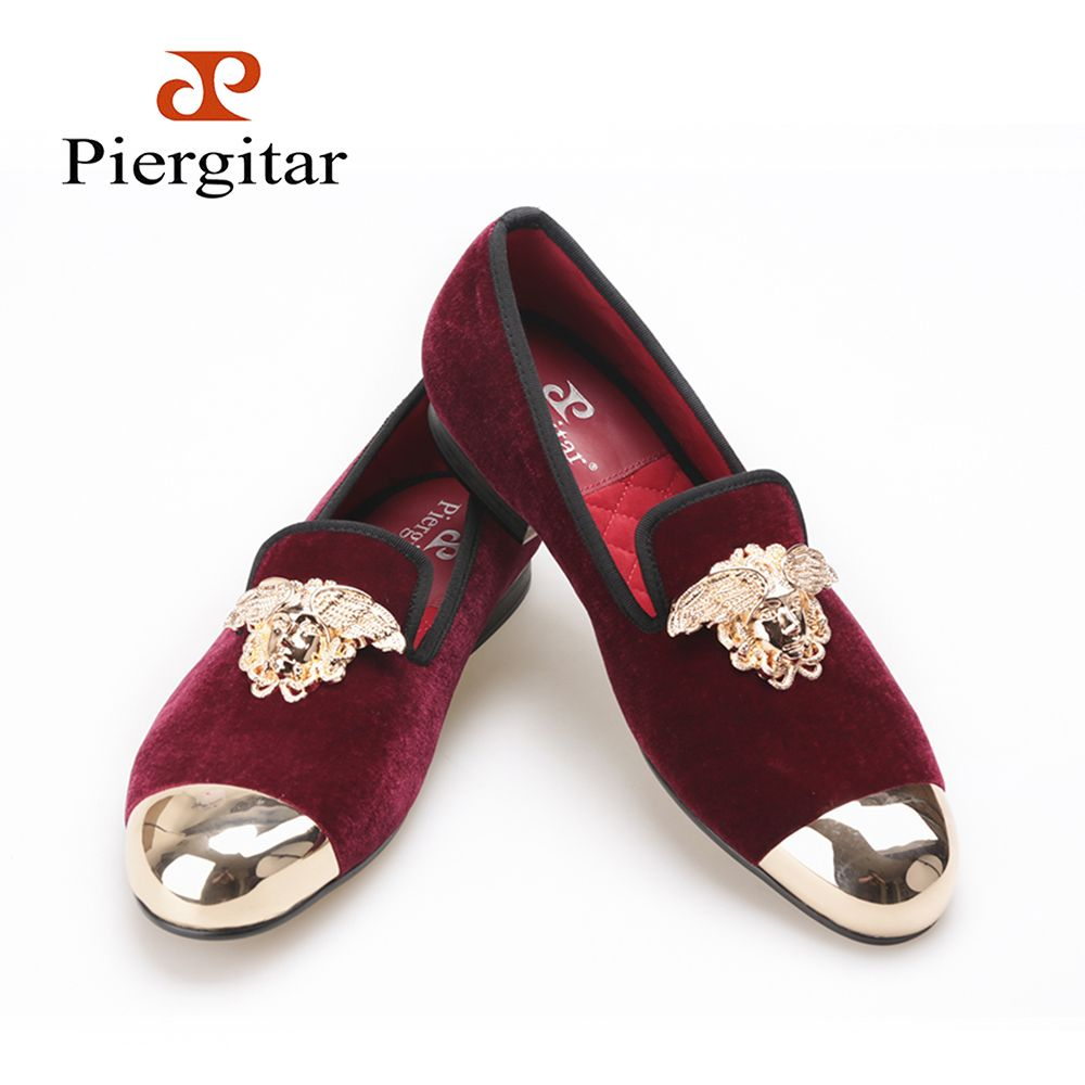 PIERGITAR New Velvet Shoes with gold toe and metal medusa design wine red  color Men s flats dressing and Party Men loafers e6f0832490b9