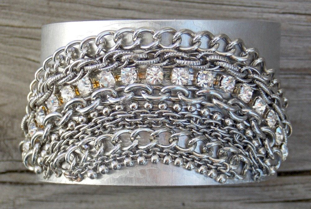 Silver Bracelet Cuff, Metal Cuff, Chain and Rhinestone Cuff, Rocker Chic Cuff, Statement Bracelet Cuff by FateAndNecessity on Etsy https://www.etsy.com/listing/111297315/silver-bracelet-cuff-metal-cuff-chain