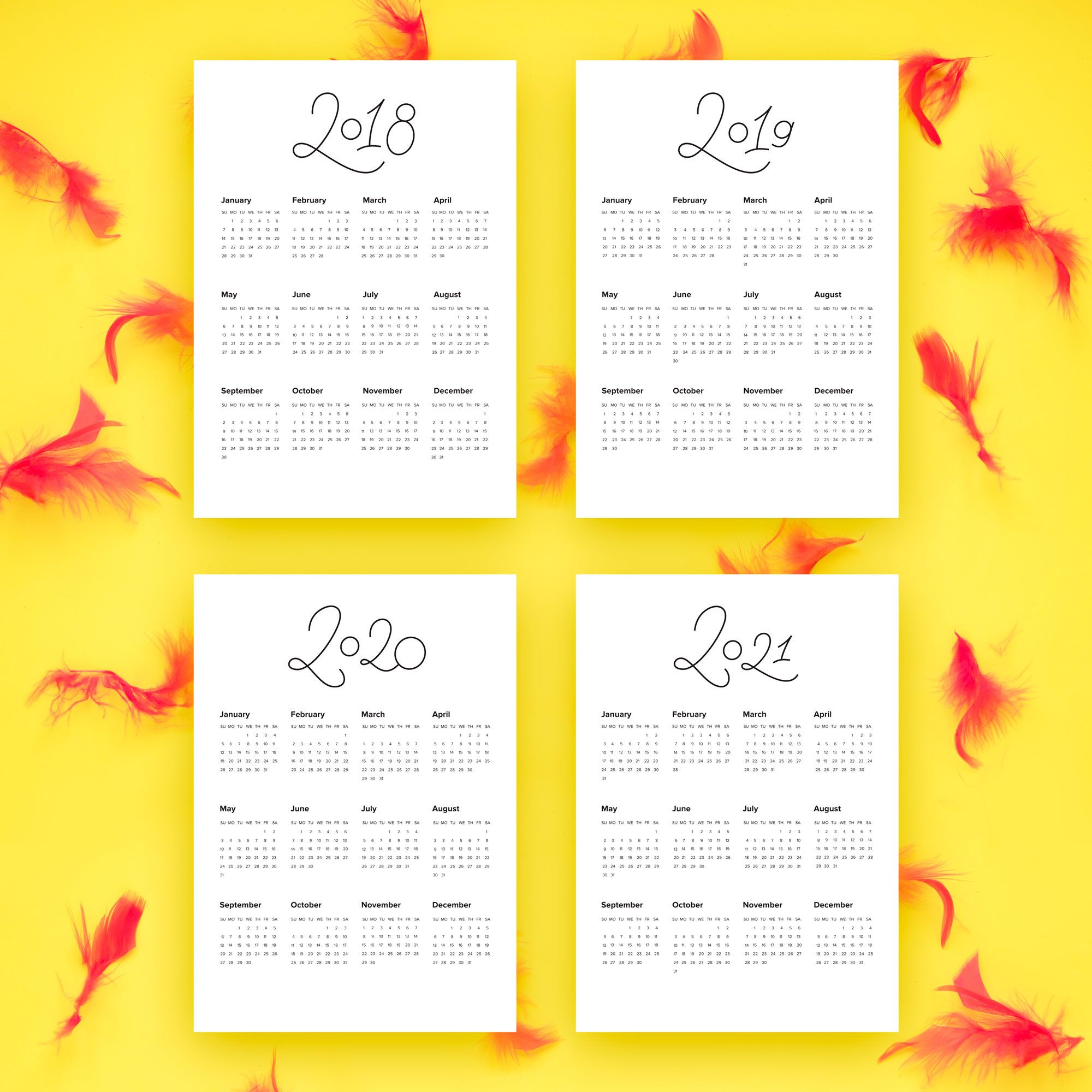 Planner Printable Wall Calendar Clean Lettering PDF PNG ZIP A5 ...
