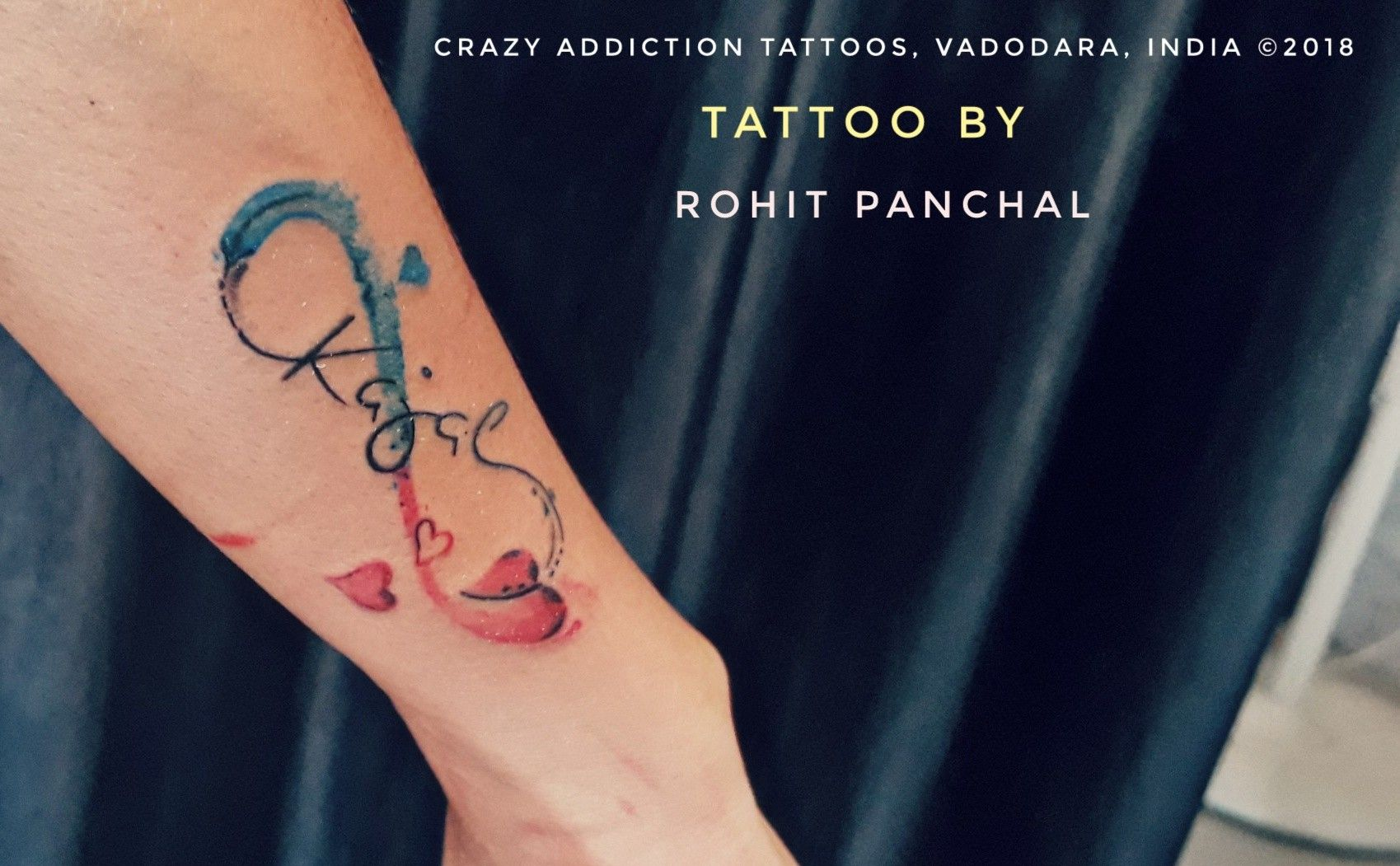 Infinity With Name Of Kajal Of Watercolour Tattoo By Rohit Panchal Tattoos Name Tattoos Infinity Name Tattoo