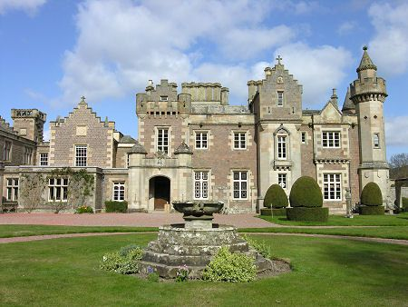 Abbotsford, Home of Sir Walter Scott.  Born in 1771, Scott died at Abbotsford in 1832 and was buried in the ruins of Dryburgh Abbey.