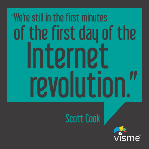 """""""We're still in the first minutes of the first day of the Internet revolution."""" - Scott Cook Startup Quotes #Internet #Startups"""