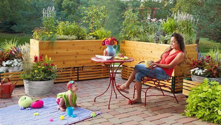 Sichtschutz aus Hochbeete und Begrünung für Terrasse oder Balkon ...