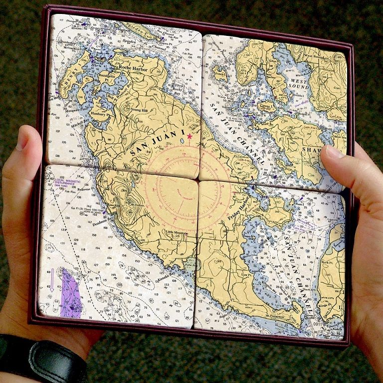 Netherlands Elevation Map%0A San Juan Island nautical chart coaster