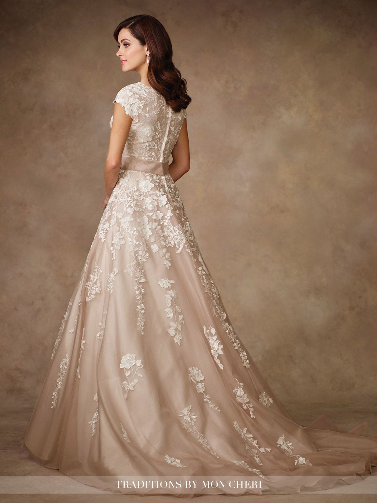 Lace cap sleeve a line wedding dress  Modest Wedding Dresses  TR  Venise lace on organza over satin