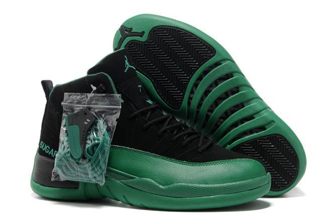 cheap for discount 53938 59e15 Men Suede Air Jordan 12 Dark Green and Black - NBA Sport ...