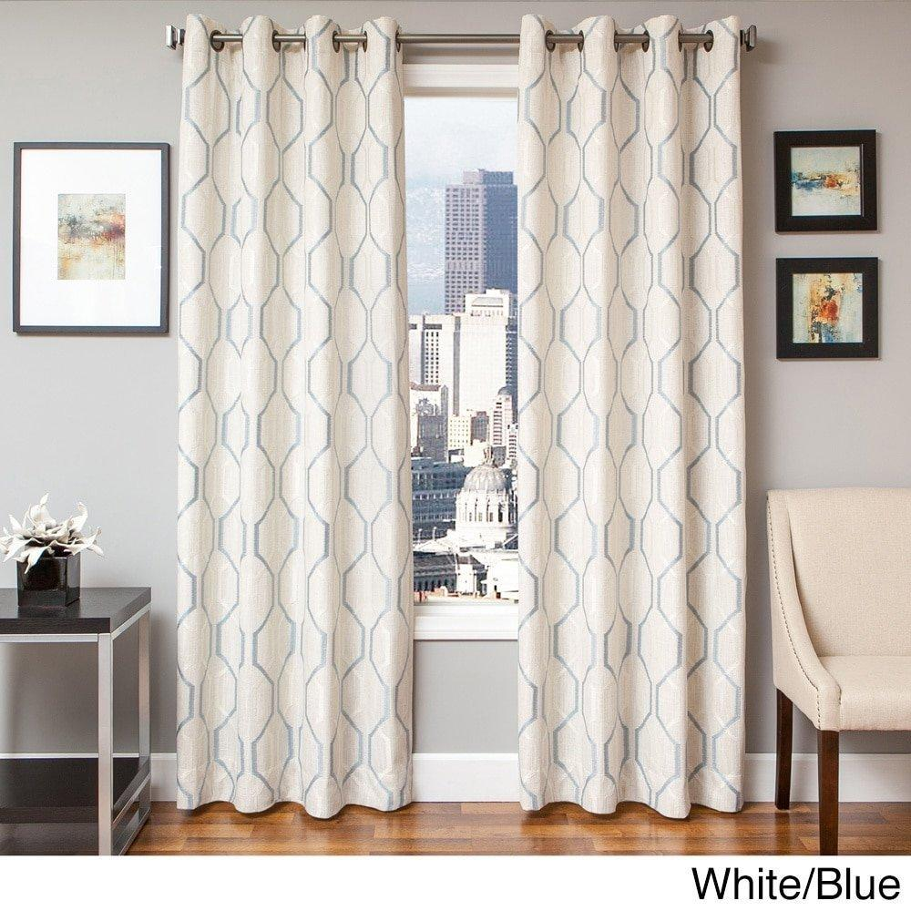 96 Inch Girls White Color Embroidered Curtain Single Panel Blue Ogee Pattern Window Drapes Kids Themed Lined Grommet Top Casual Playful Luxurious