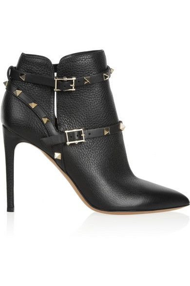 VALENTINO Rockstud Textured-Leather Ankle Boot -    Hand-embellished with the label's signature pale-gold pyramid studs, Valentino's 'Rockstud' boots are cool and elegant. Heel measures 100mm/ 4 inches Black textured-leather Buckle-fastening ankle strap