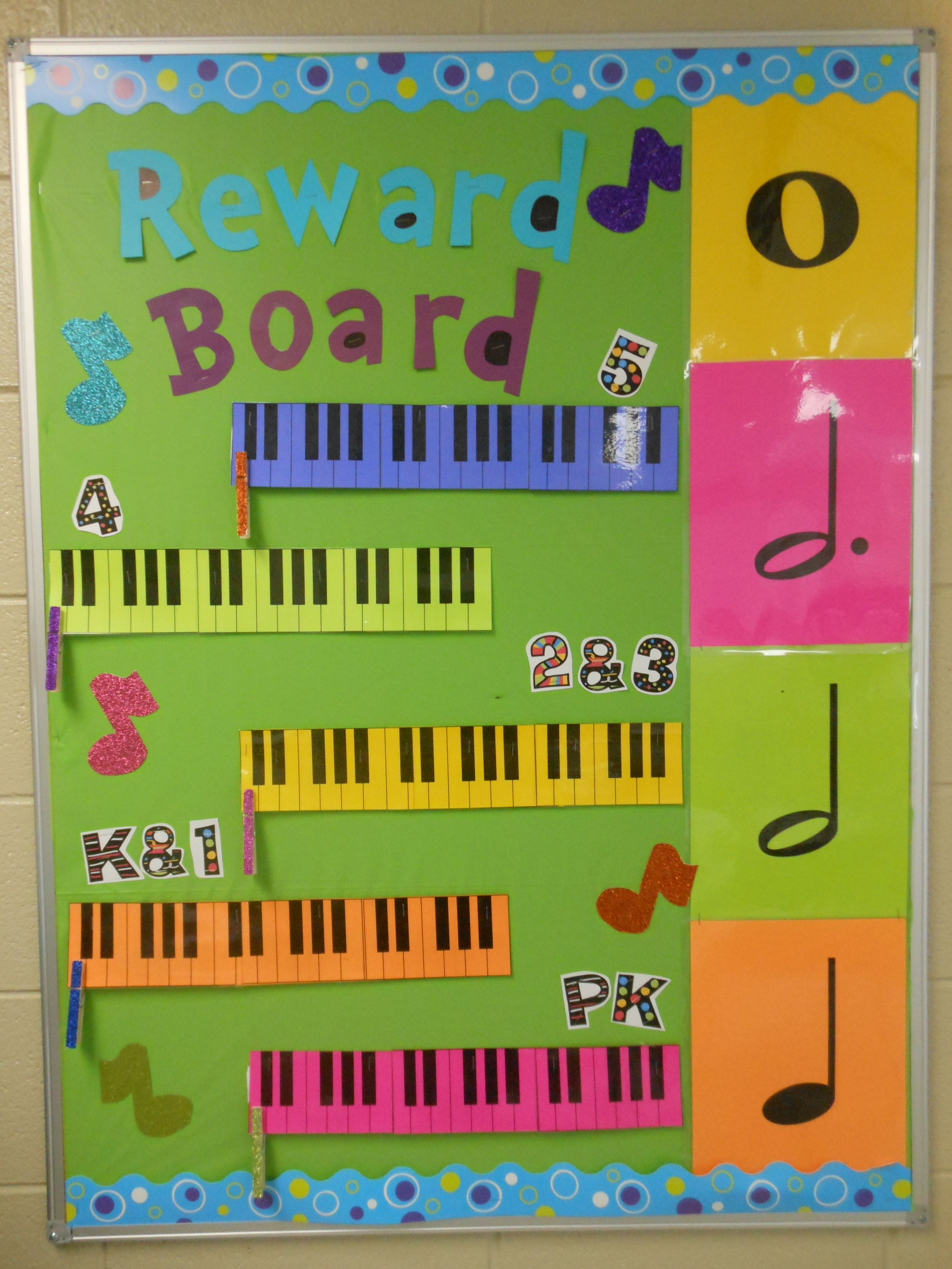 Music reward board for elementary music classes! Found this idea ...