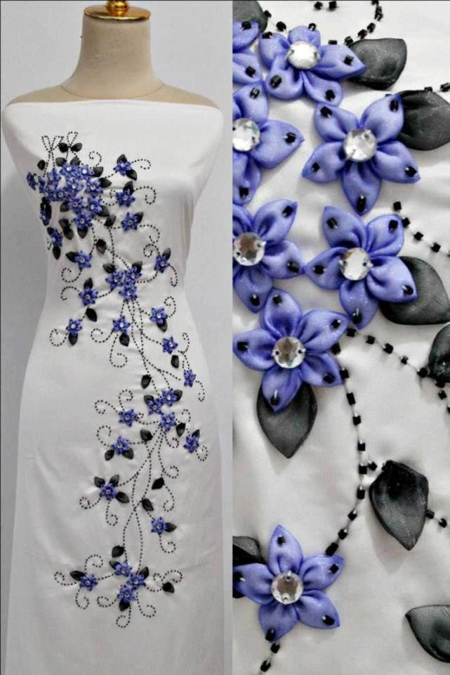New in the art of embroidery on the clothes with ribbons and satin opal splendor