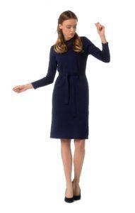 Темно-синее трикотажное платье для офиса Trends Brands