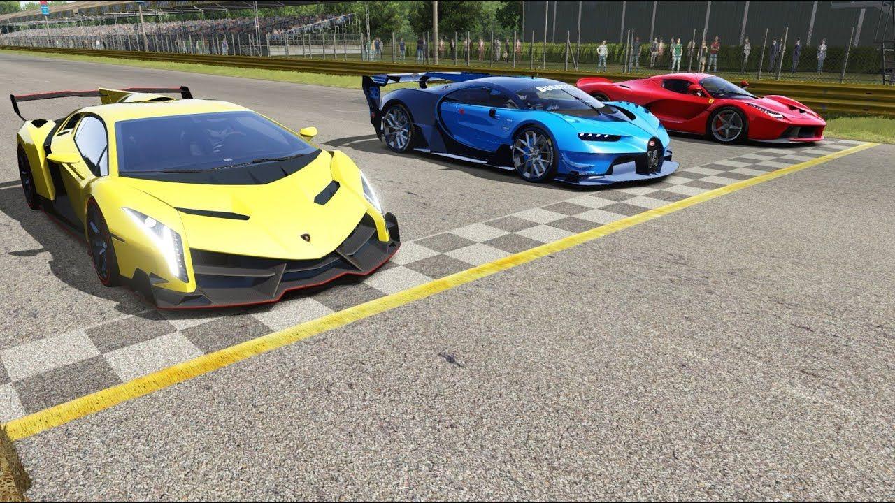 Bugatti Vision Gt Vs Lamborghini Veneno Vs Ferrari Laferrari At Monza Fu In 2020 Lamborghini Veneno Ferrari Laferrari Bugatti