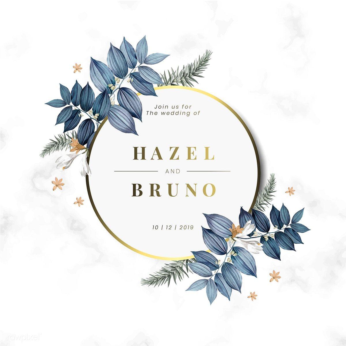 Download premium vector of Floral wedding invitation card
