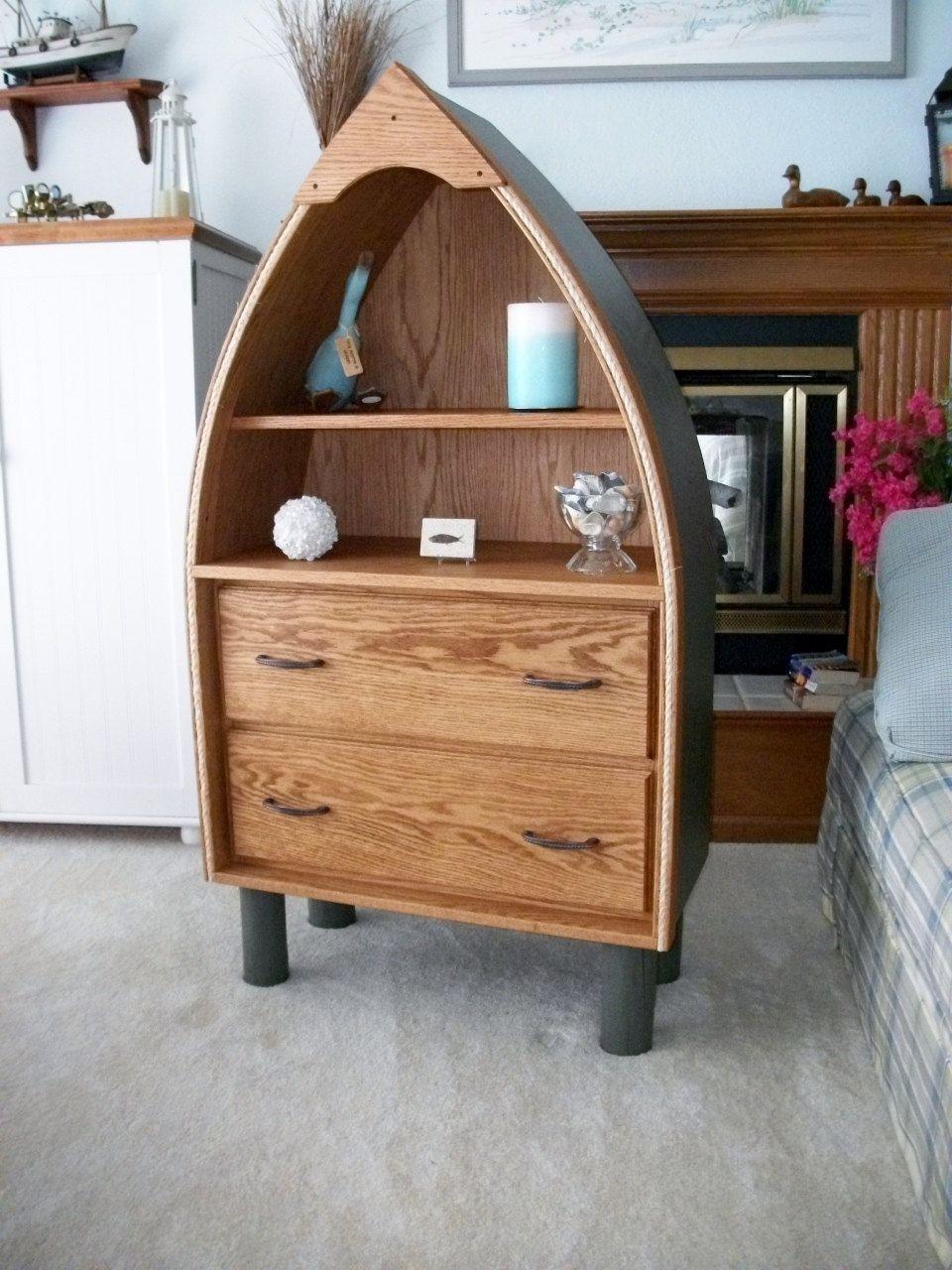 Nautical boat shape dresser 2 drawer and bookcase shelf