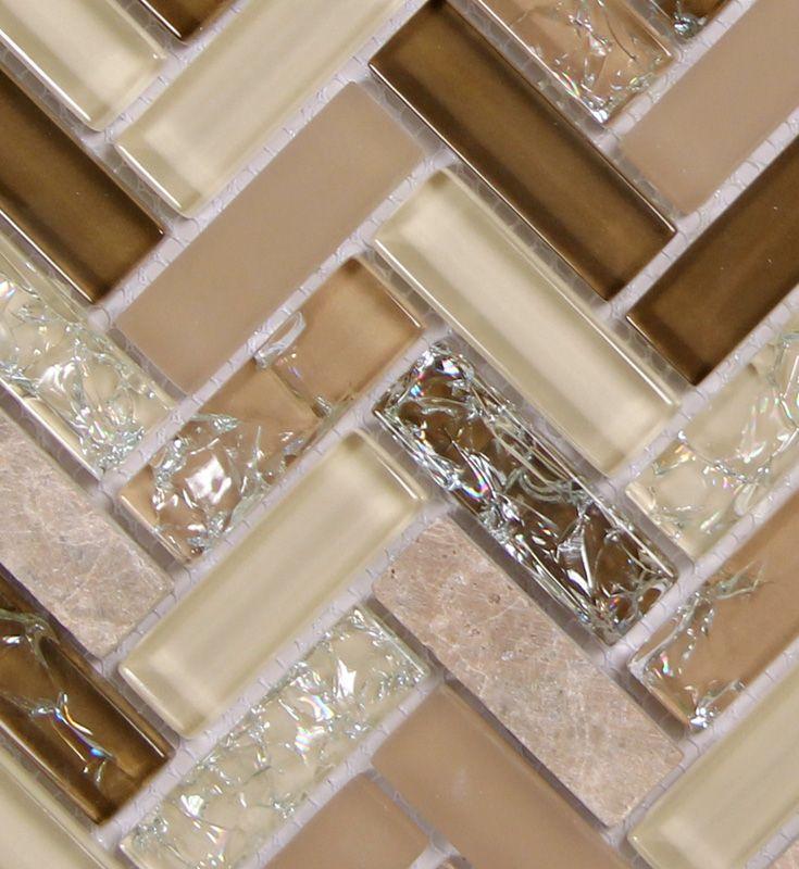 Archery Wedgewood Herringbone Mosaic Glass Tile In 2020 Glass