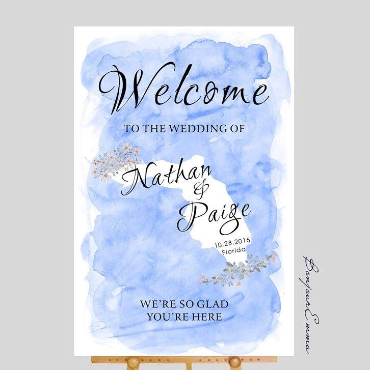 Map Of Watercolor Florida.Florida State Map Watercolor Floral Wedding Welcome Sign Any State