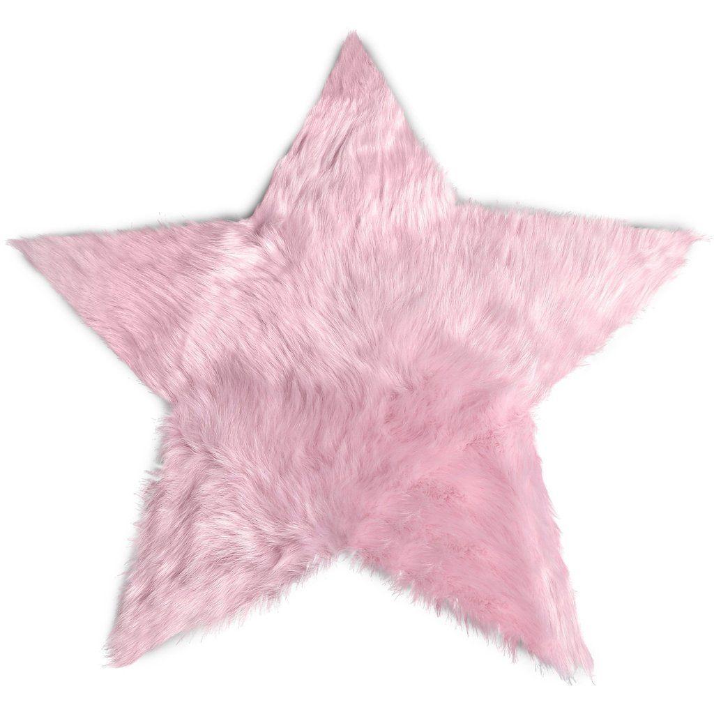 Faux Sheepskin Star Pink Area Rug