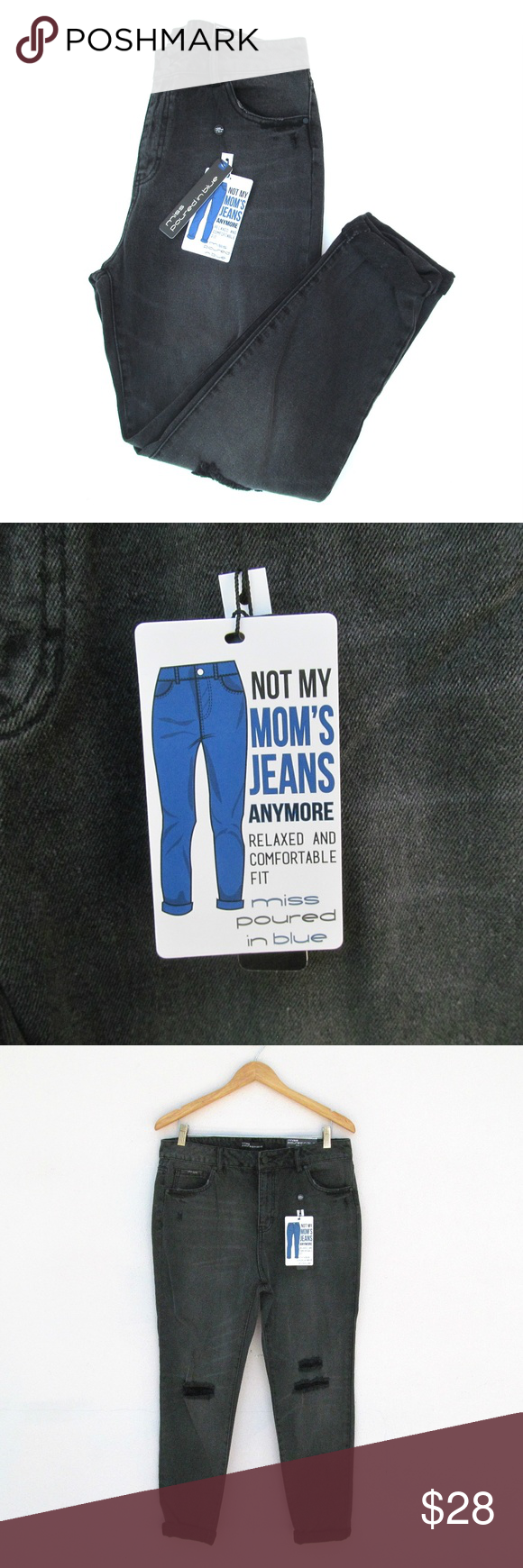 Distressed Ankle Denim Jeans Size 12 Miss Poured In Blue Distressed Black Stone Wash Ankle Jean Size 12 Brand New With Tags Miss Poured In Blue J Size 12 Jeans