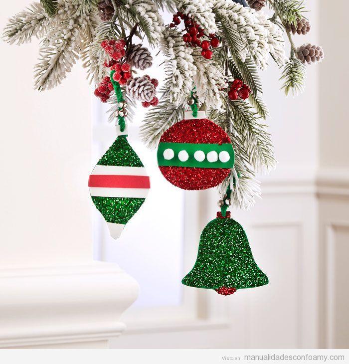 Adornos de Navidad de foamy fáciles 4 | manualidades Navidad ...