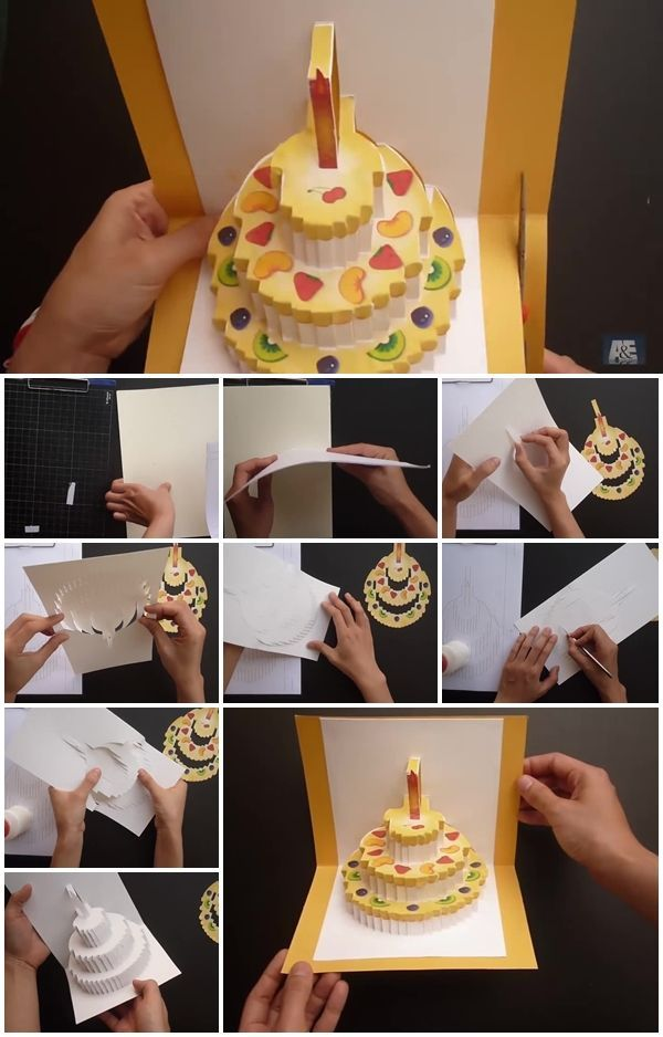How To Make Birthday Cake Kirigami Pop Up Card Birthday Card Pop Up Make Birthday Cake Diy Birthday Cake