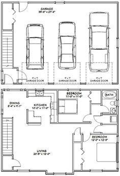 40x28 3 car garage 40x28g9 1 146 sq ft excellent for Garage guest house floor plans