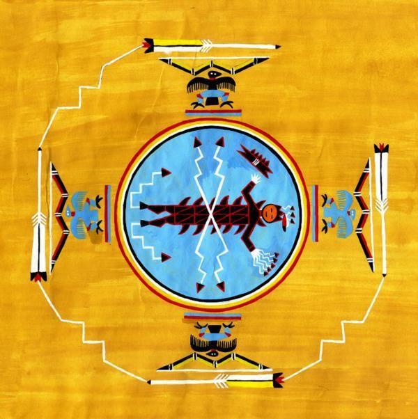 """Mandala. Das blaue Zentrum symbolisiert den """"Himmel in uns"""" oder den Mikokosmos (Ganzheit, """"unus mundus""""), der Adler das Pneumatische, Geistige."""