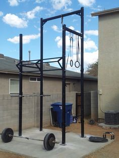 outdoor rig is a good set up  crossfit home gym garage