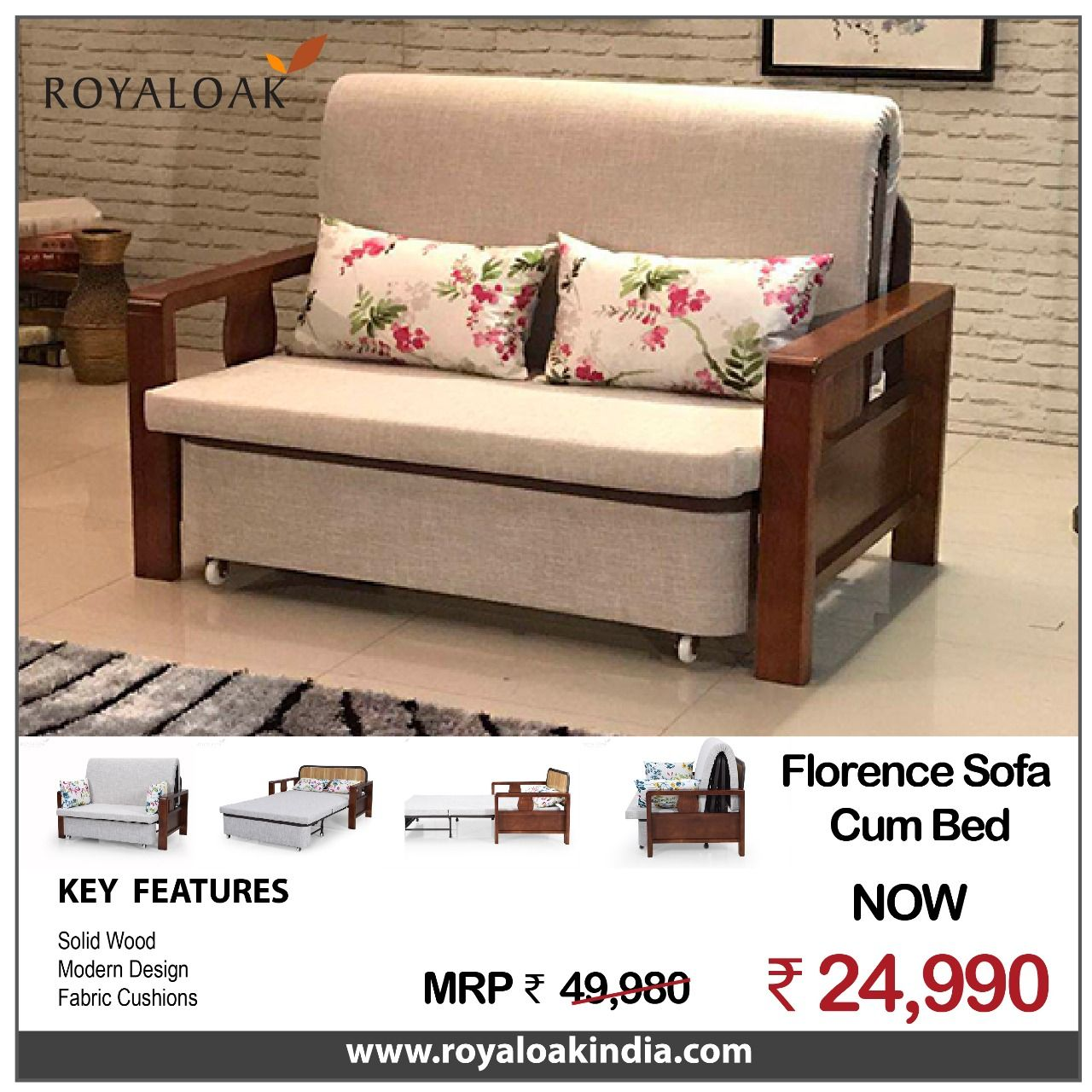 Pin By Royaloak Furniture On Royaloak Corner Sofa Beds Wooden Sofa Sofa Online Buy Sofa Online