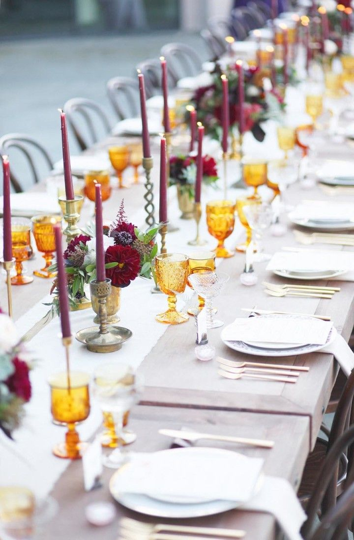November wedding decoration ideas  Sophisticated Fall California Wedding  Table Setting  Pinterest
