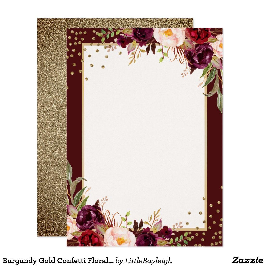 Burgundy Gold Confetti Floral Wedding Invitation Zazzle Com In 2020 Floral Wedding Invitations Flower Wedding Invitation Wedding Invitation Background