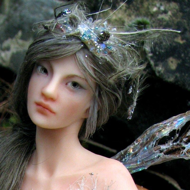 Hand-sculpted OOAK Art Doll Sculpture Fairy on Toadstool ADO