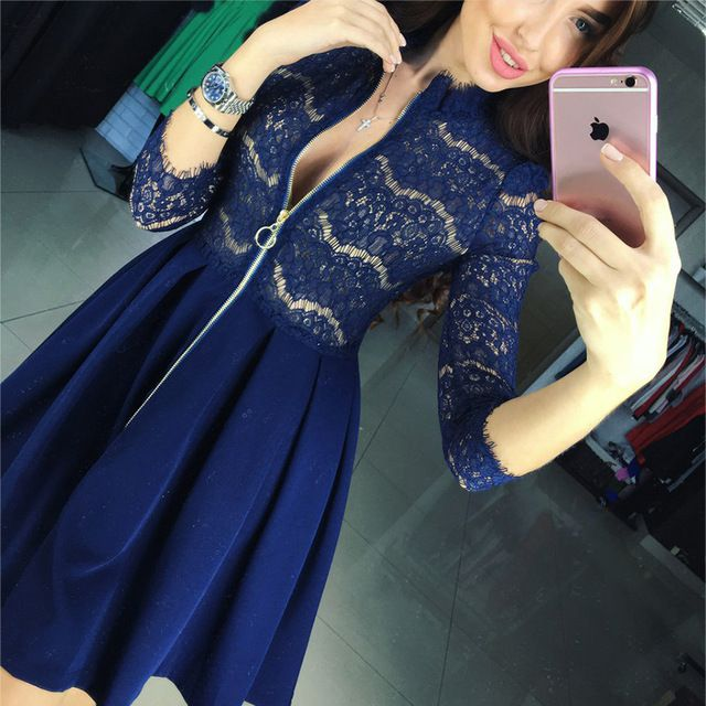 Autumn New Vestido Women Fashion Casual Lace Patchwork Dress 2016 Sexy V-Neck Long Sleeve Evening Party Dresses Vestido de festa