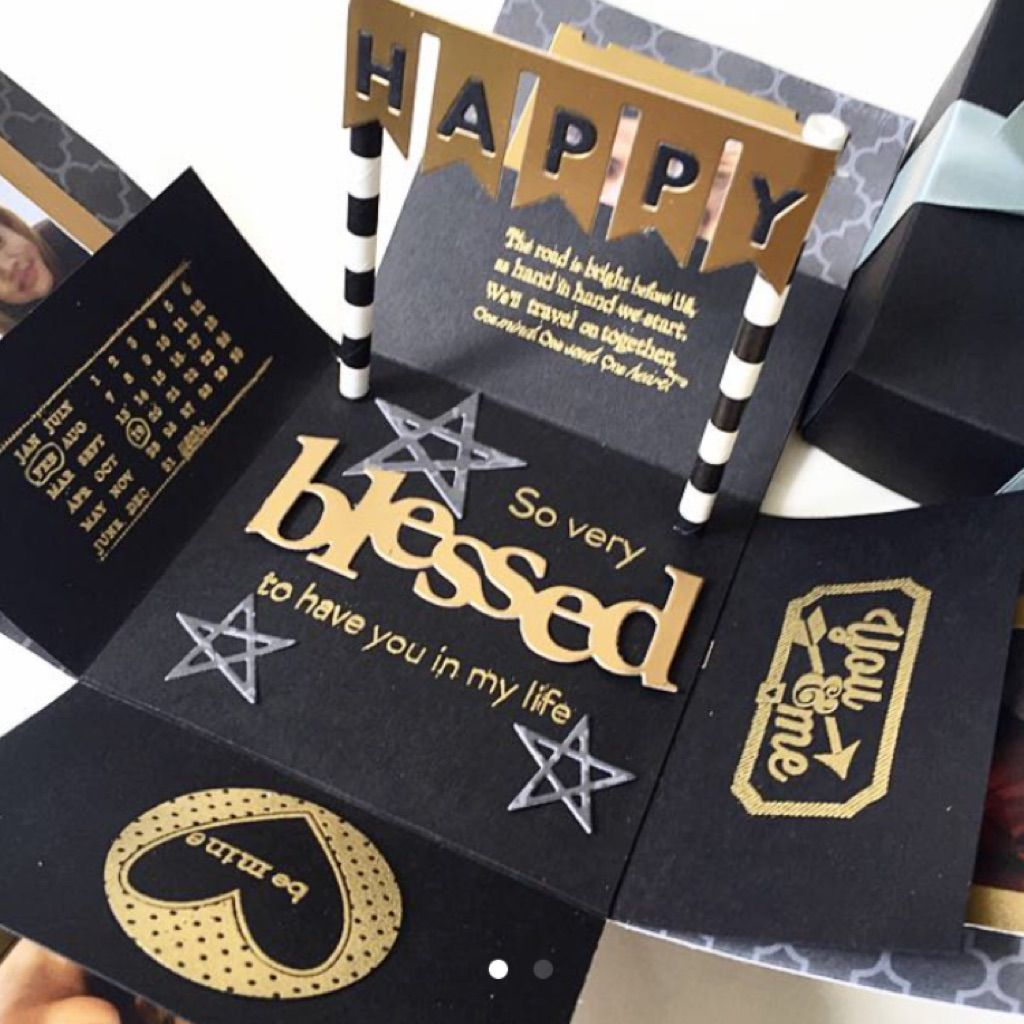 Blessed to have you explosion box card in black