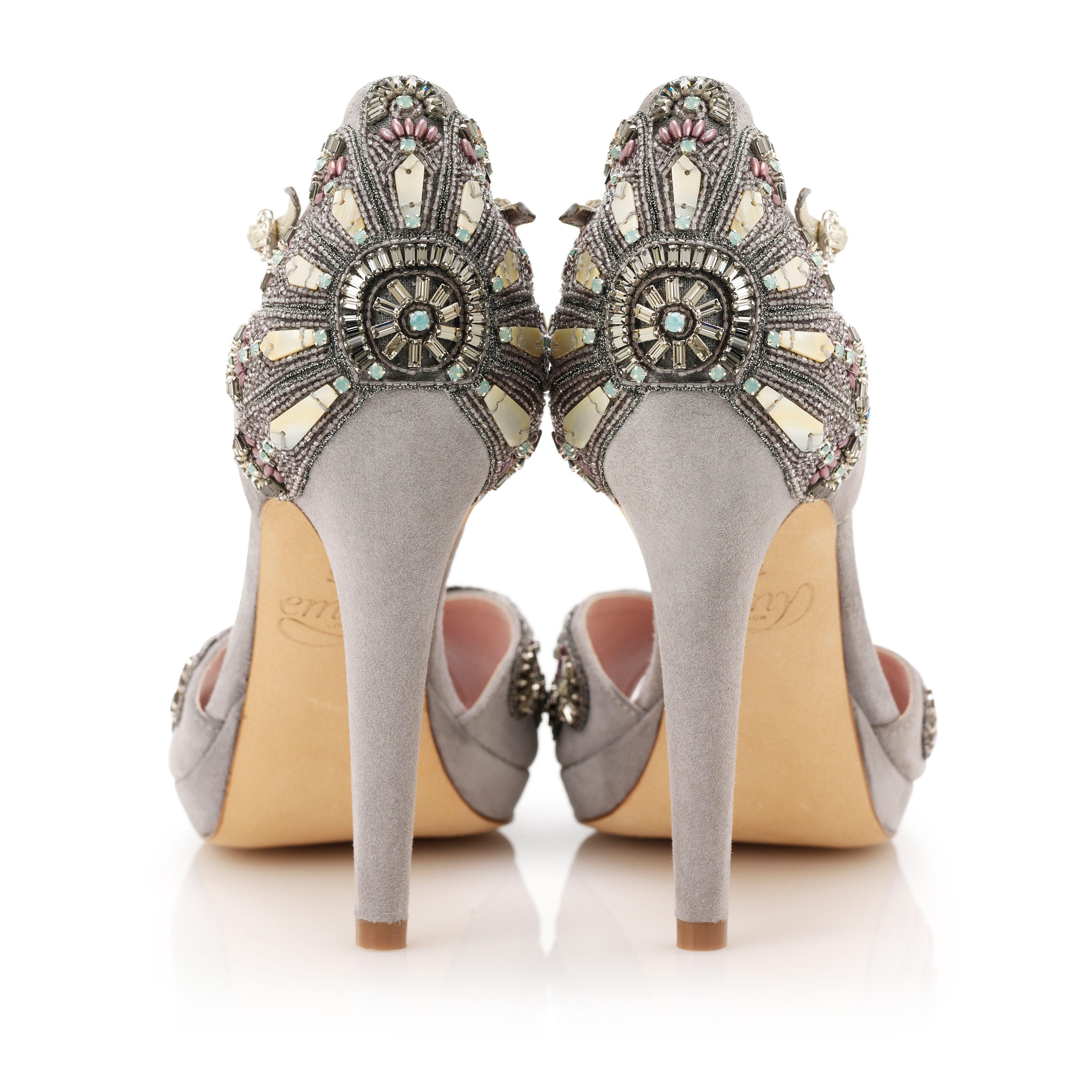Art Deco, Suede via Emmy London | Jeweled heels, Bridal