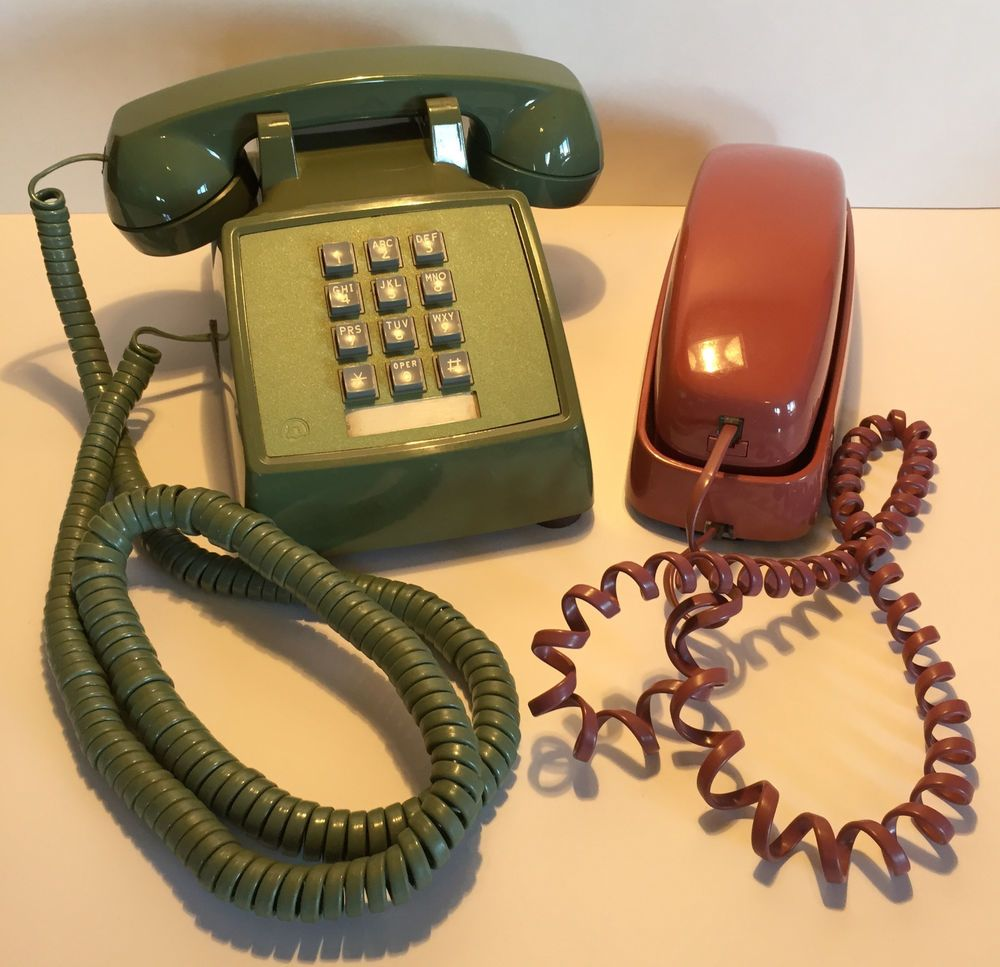 Vintage Green Mauve Touch Tone Western Electric 2500 Phone At T Desk Wall Rare