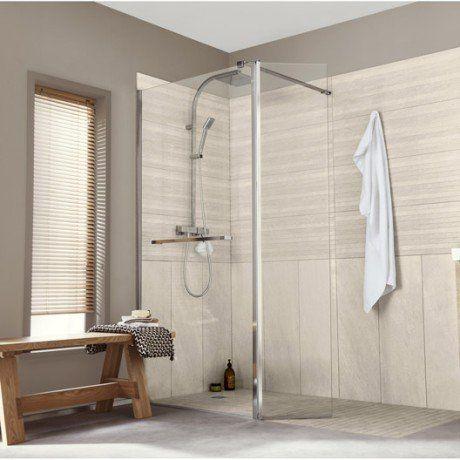 Paroi de douche à lu0027italienne, l100+40 cm verre transparent 8 mm - porte accordeon pour douche