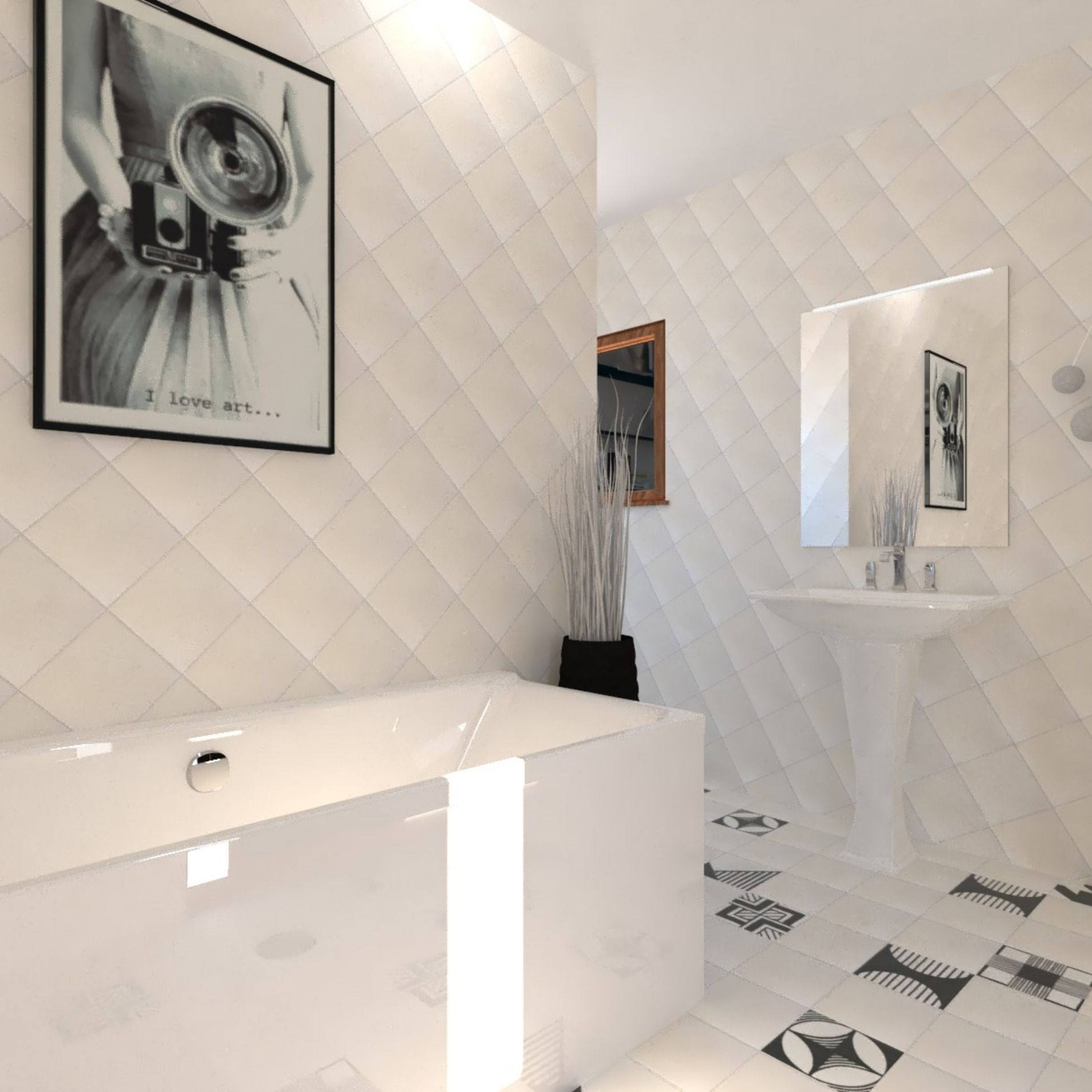 Salle De Bain Carrelage Imitation Carreau De Ciment 20x20 Blanc Et
